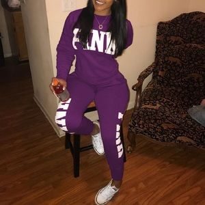 Two Piece PINK Letter Tracksuit